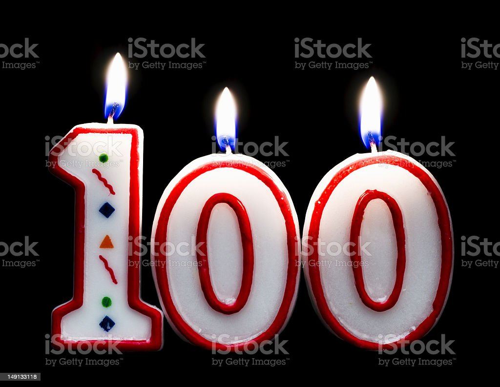 Number 100 Birthday Candle Stock Photo