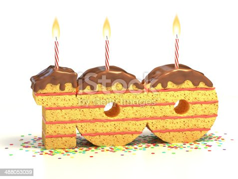istock number 100 shaped chocolate birthday cake with lit candle 488053039