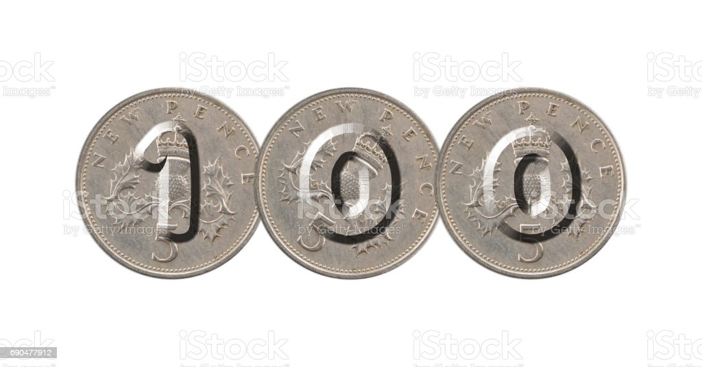 Number 100 with five pence coins stock photo