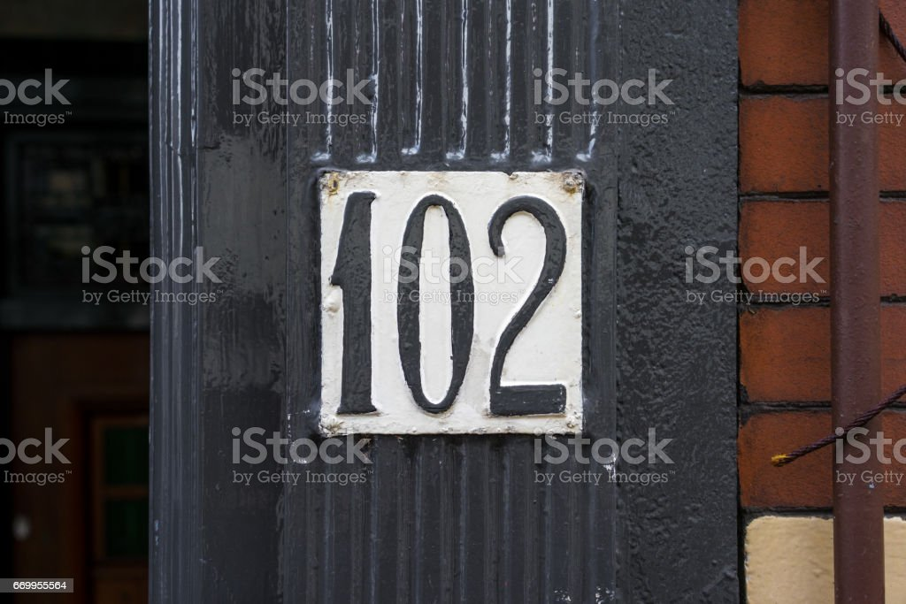 Number 102 stock photo