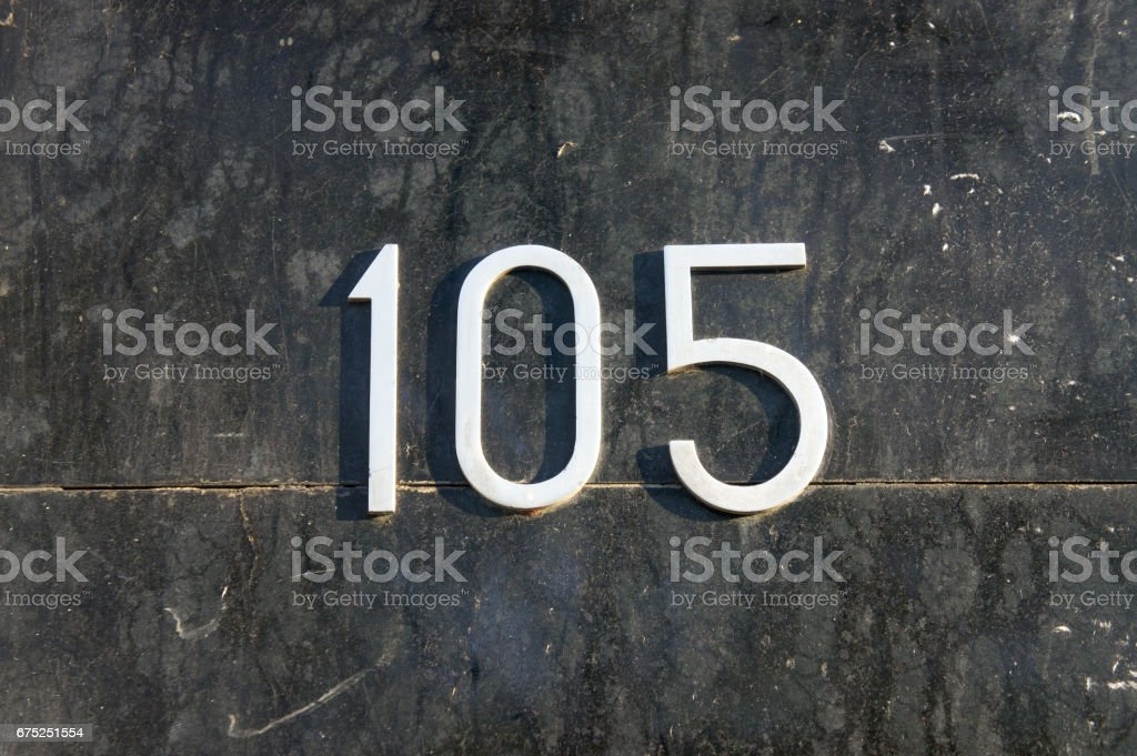 Number 105 stock photo
