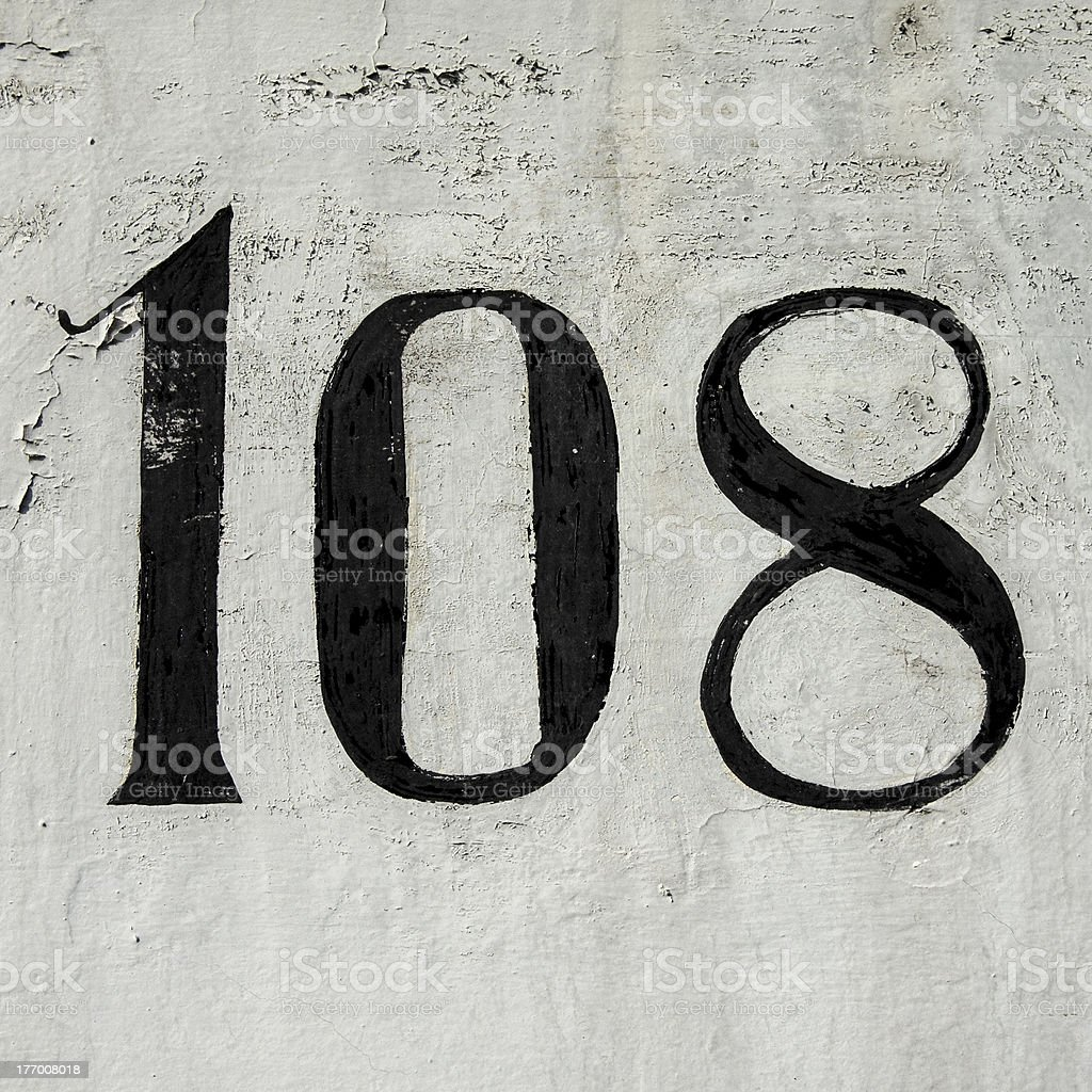 Number 108 royalty-free stock photo