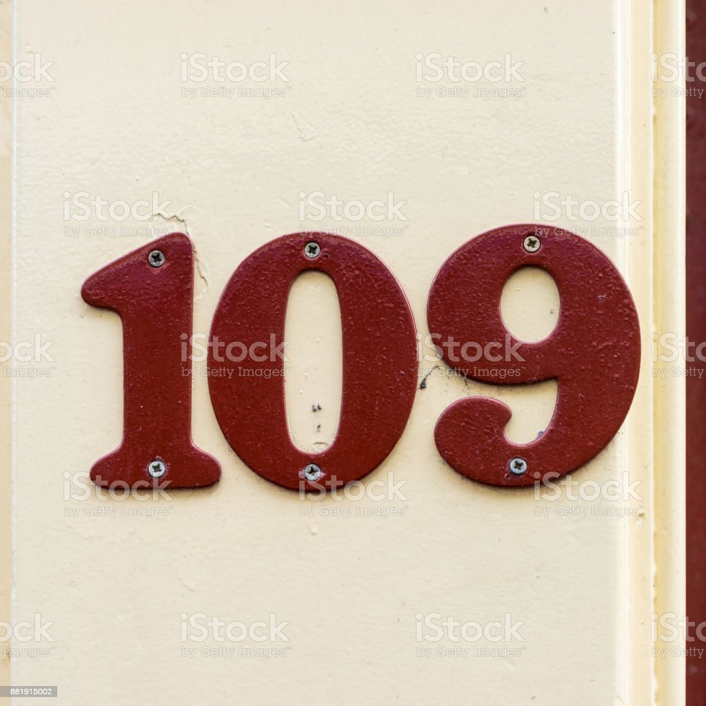 Number 109 stock photo