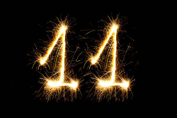 Number 11 made with sparklers stock photo