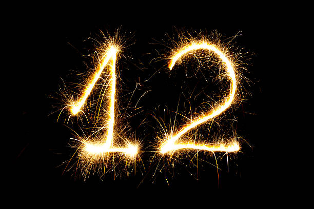 Number 12 made with sparklers stock photo