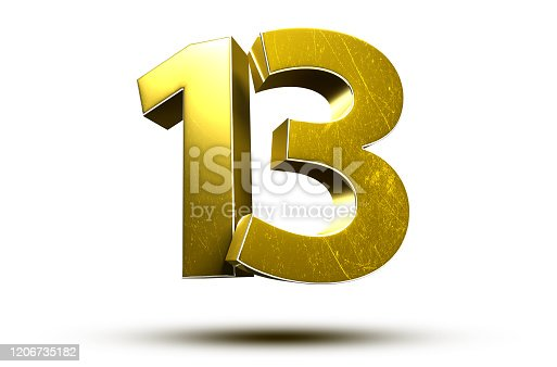 3D illustration Golden number 13 isolated on a white background.(with Clipping Path).