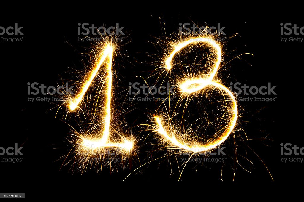 Number 13 made with sparklers stock photo