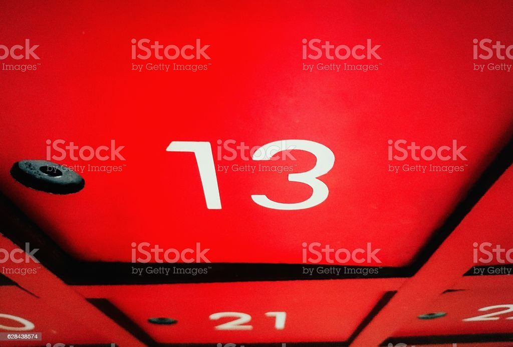 Number 13 on mail box with halloween day stock photo