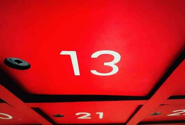 number 13 on mail box with halloween day - freitag der 13 stock-fotos und bilder