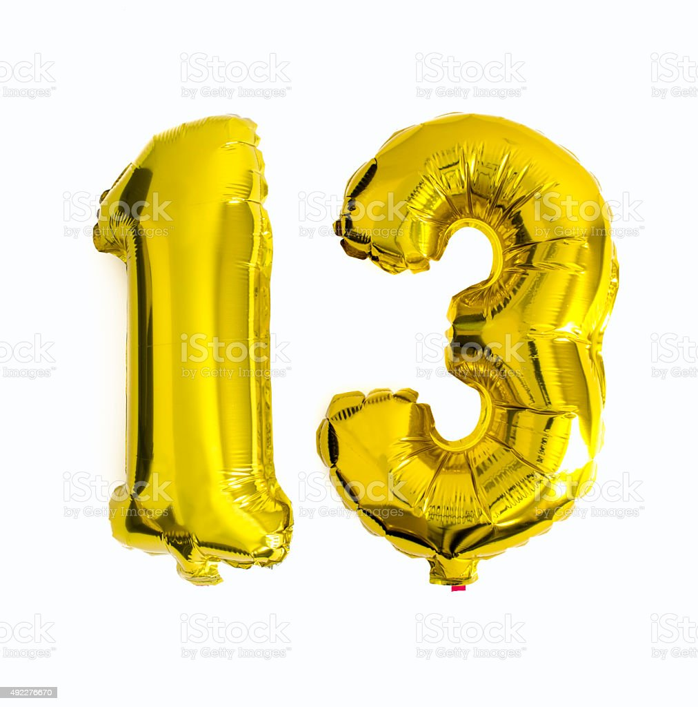 Number 13 written with foil balloons stock photo