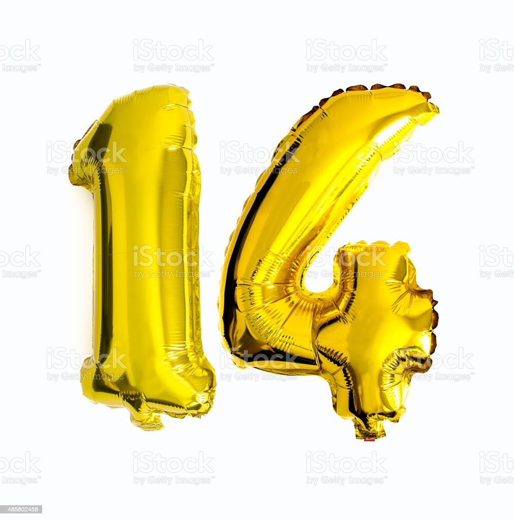 Number 14 Written With Foil Balloons Stock Photo