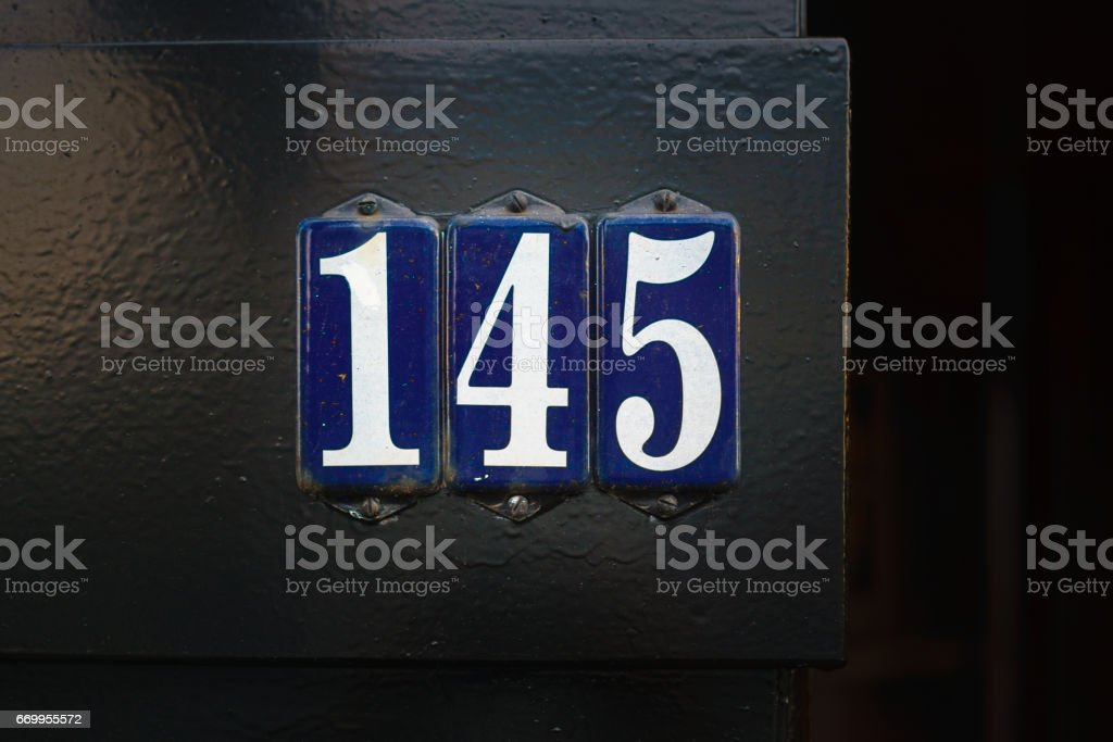 Number 145 stock photo