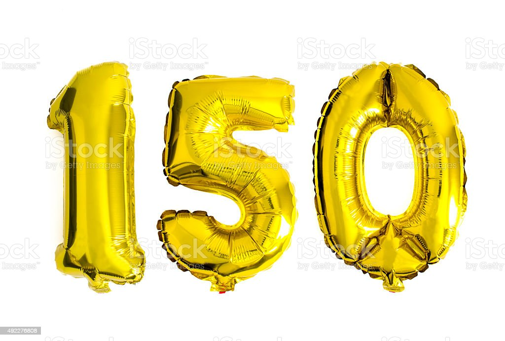 Number 150 written with foil balloons stock photo