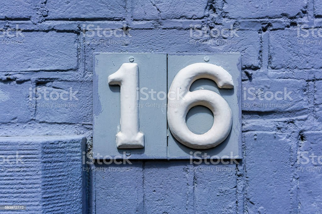 Number 16 stock photo