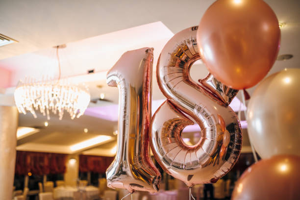number 18 balloons - number 18 stock photos and pictures