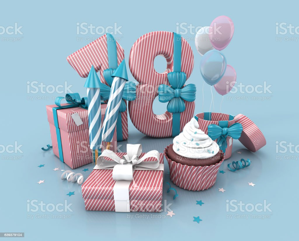 Number 18, Decorated With Ribbon, Birthday Cupcake, Rockets, Wrap Gifts. stock photo