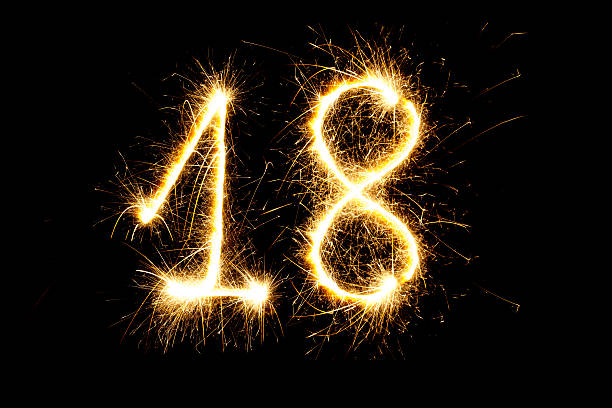 number 18 made with sparklers - number 18 stock photos and pictures