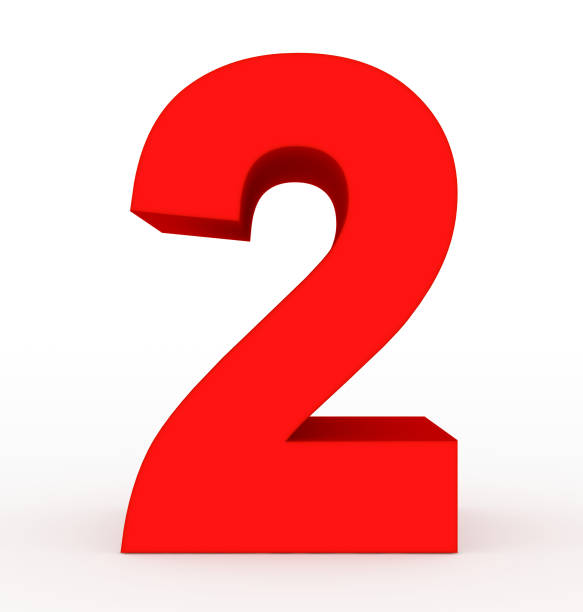 number 2 3d clean red isolated on white stock photo