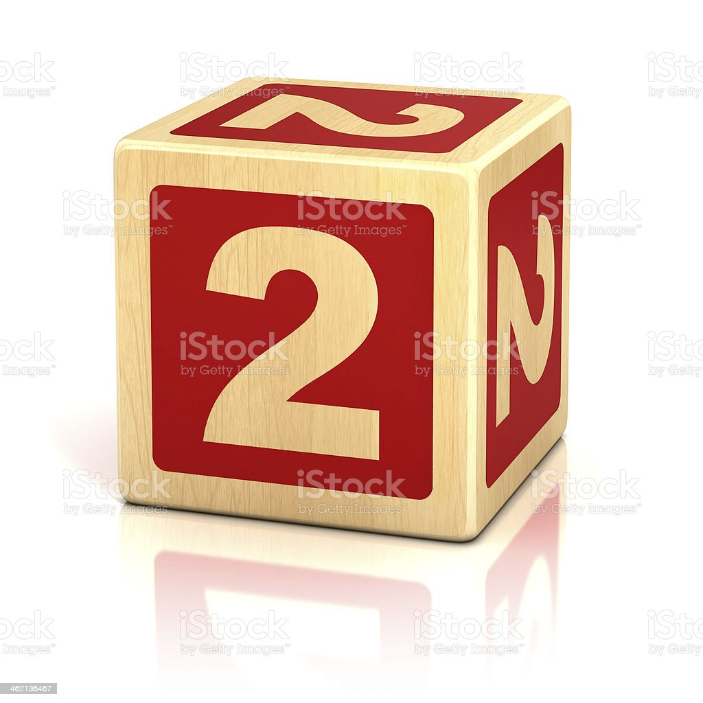 number 2 alphabet cubes font stock photo