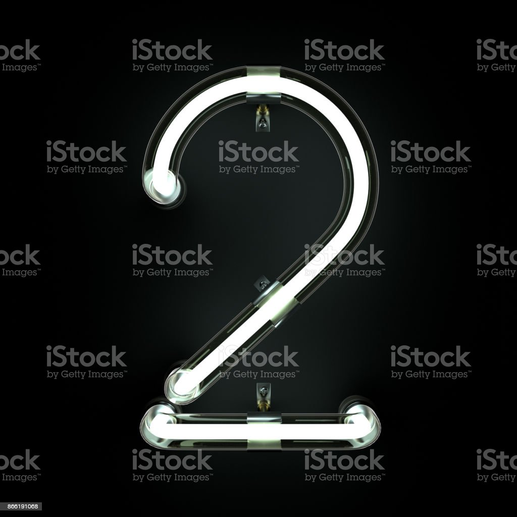 Number 2, Alphabet made from Neon Light on black background. stock photo