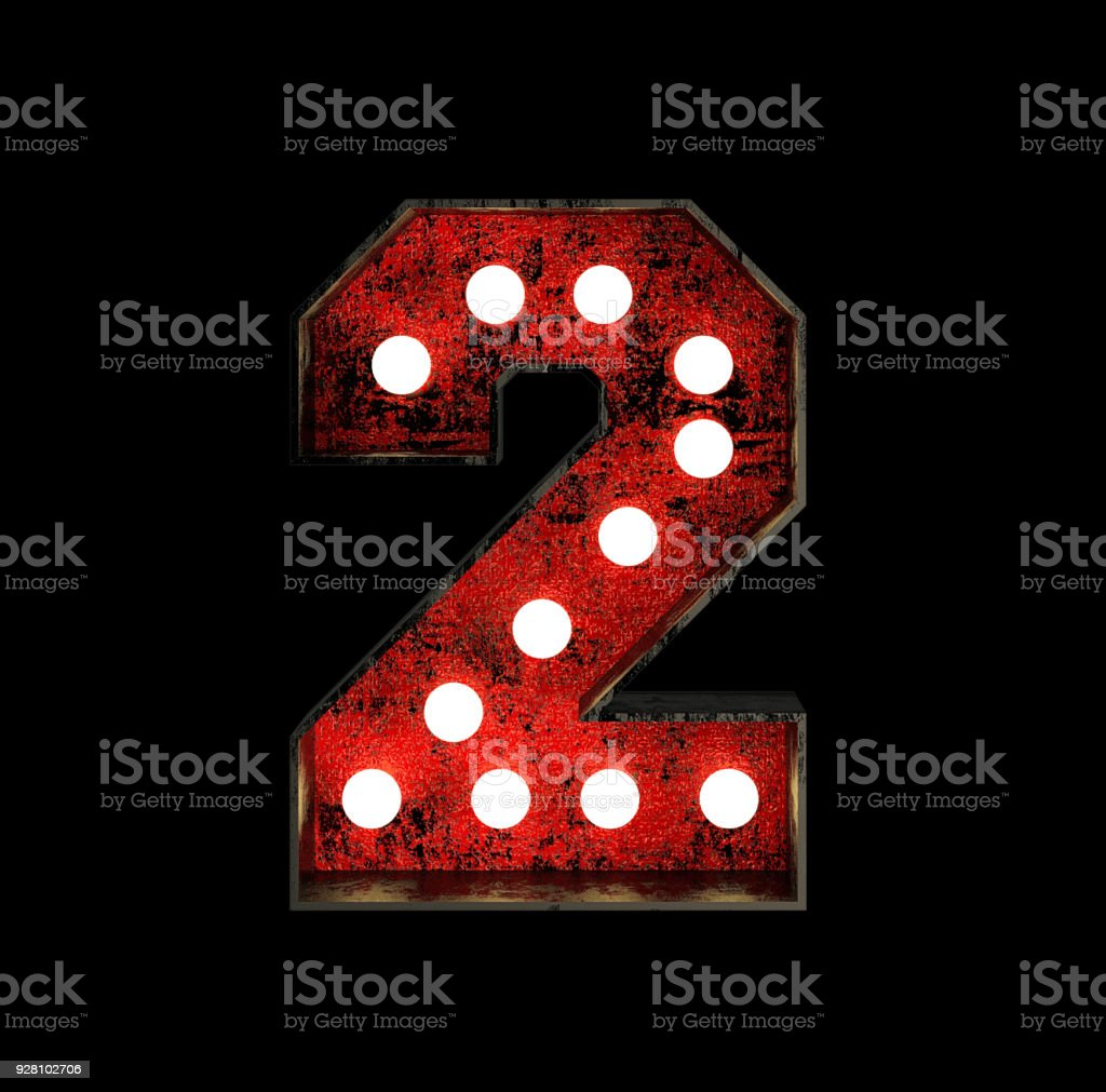 Number 2. Broadway Style Light Bulb Font stock photo