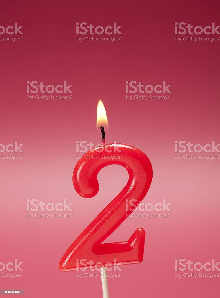 Candle Flame Single Object Anniversary Birthday Number 2