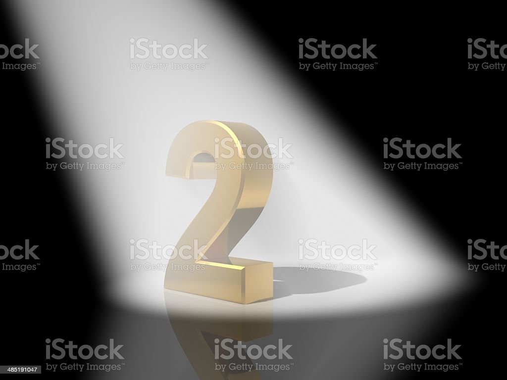 Number 2 from gold solid alphabet. stock photo