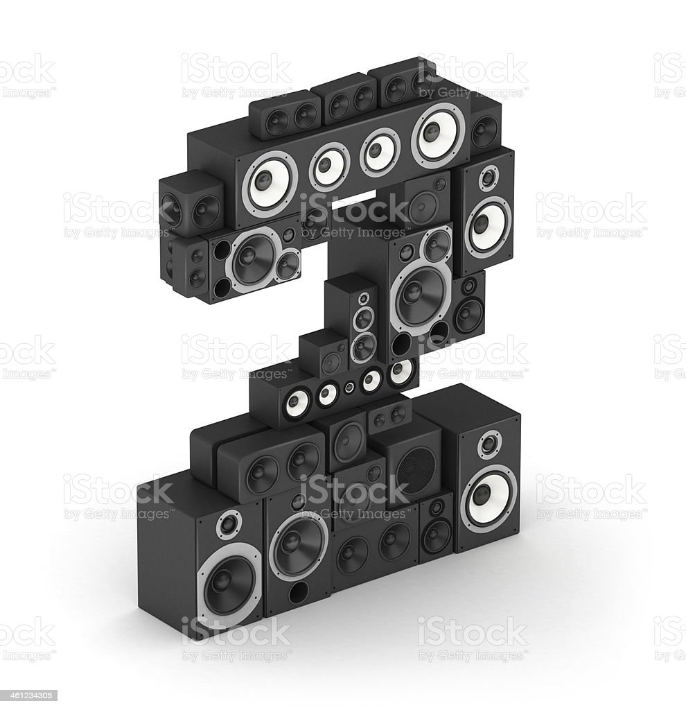 Number 2 from speaker in isometry stock photo