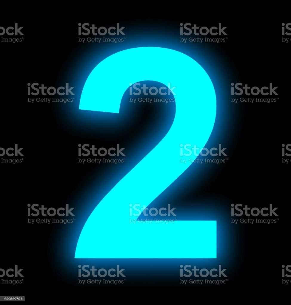 number 2 neon light full isolated on black stock photo