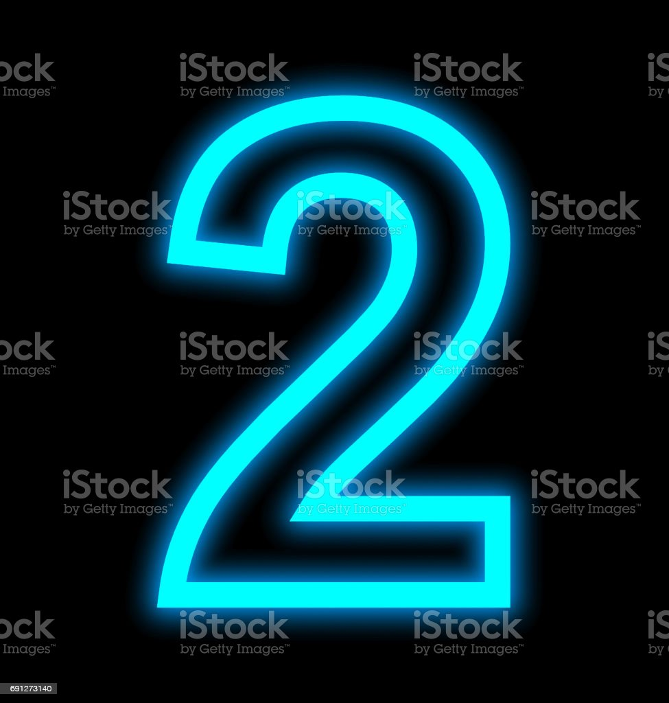 number 2 neon lights outlined isolated on black stock photo