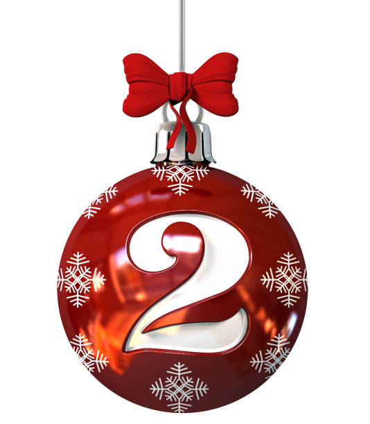 Number 2 on Red Christmas Ball stock photo