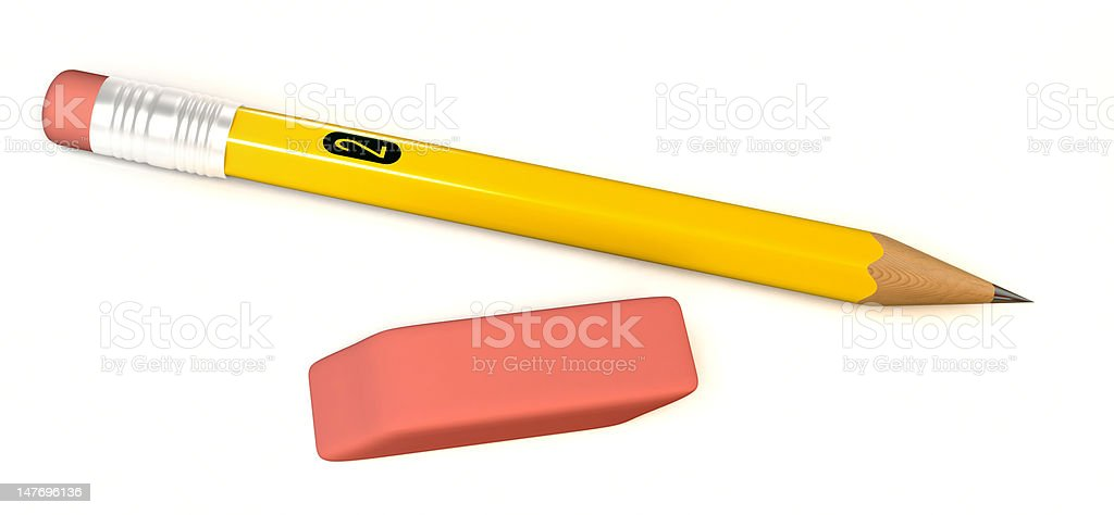 Number 2 pencil and eraser stock photo