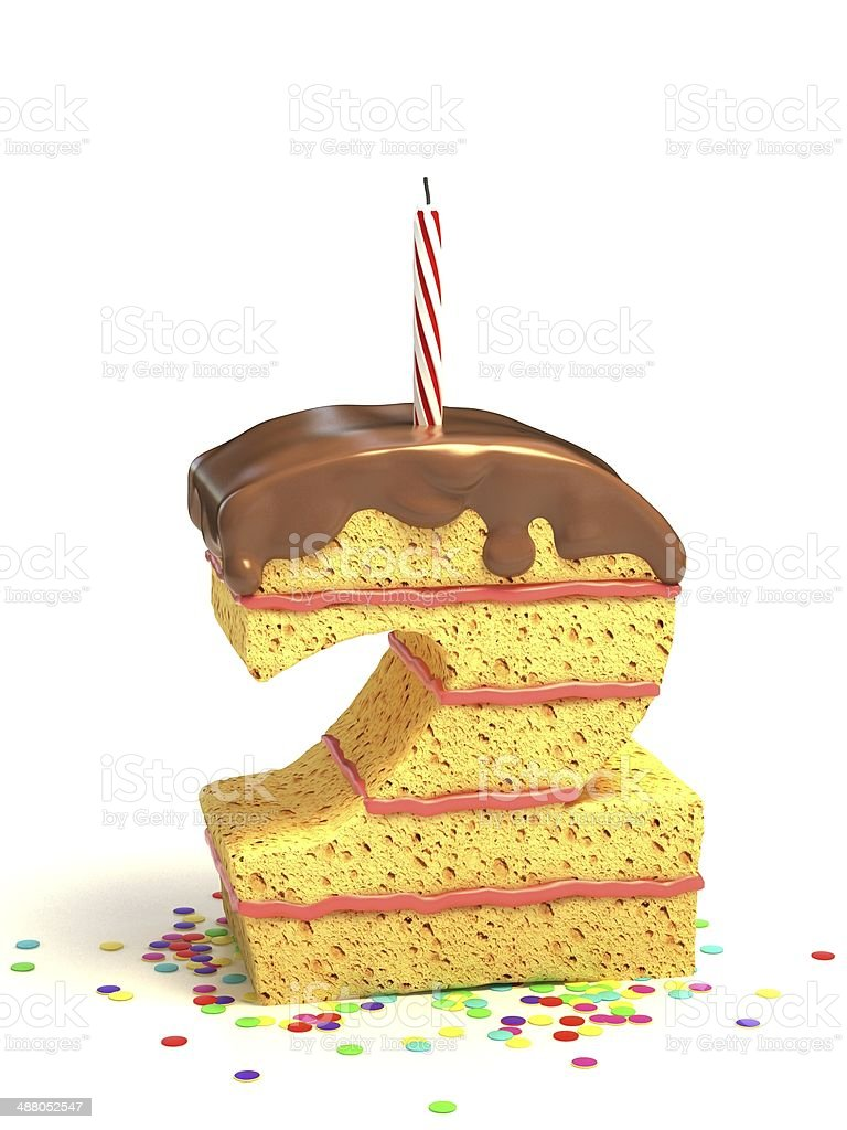 Number 2 Shaped Chocolate Birthday Cake With Lit Candle Stock Photo