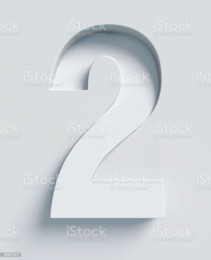 Number 2 slanted 3d font engraved and extruded from surface stock photo