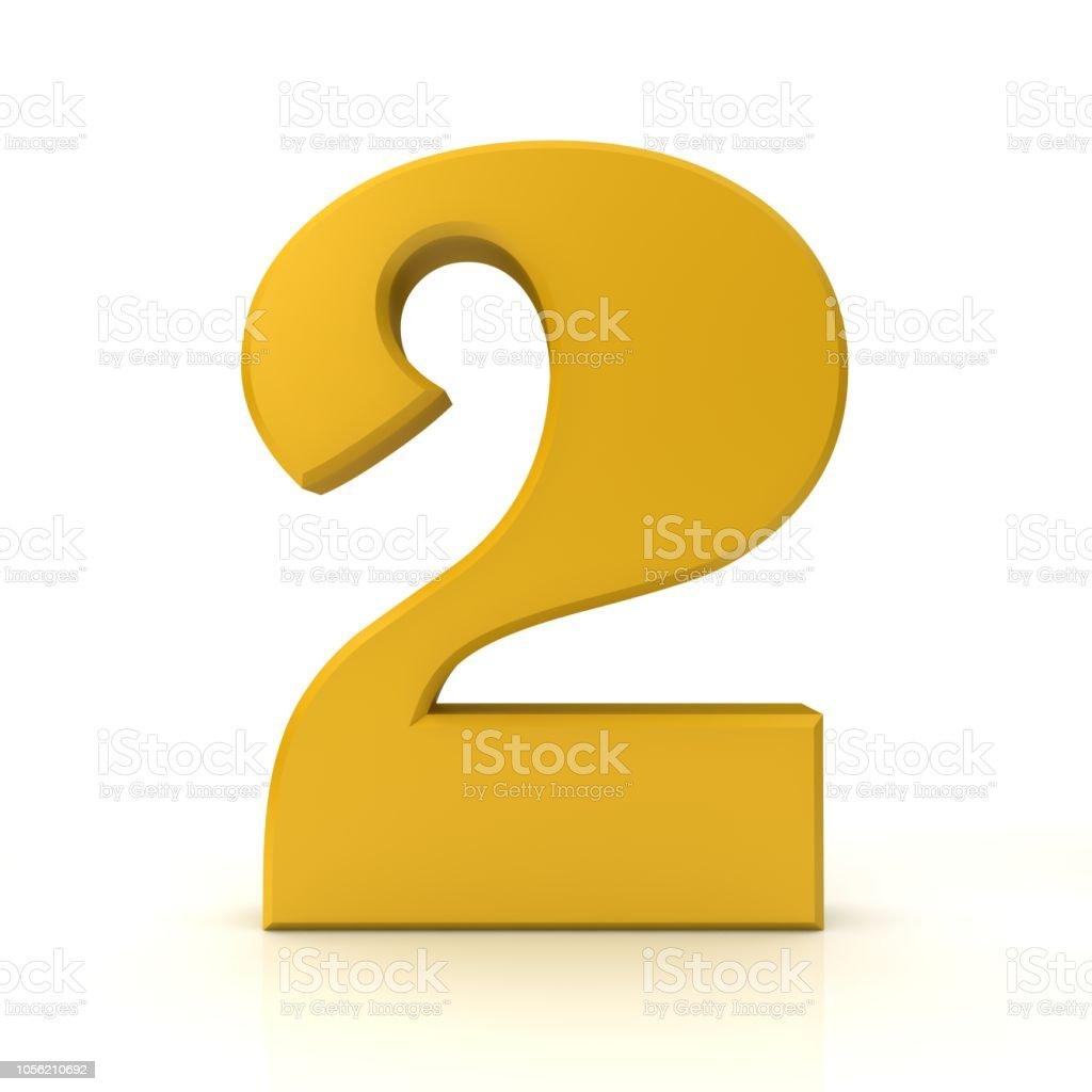 Foto de Número 2 Dois 3d Sinal Ouro Símbolo Gráfico Ícone