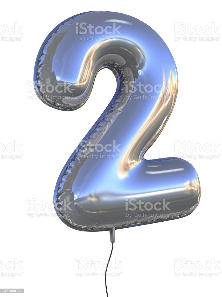 number 2 two balloon font stock photo