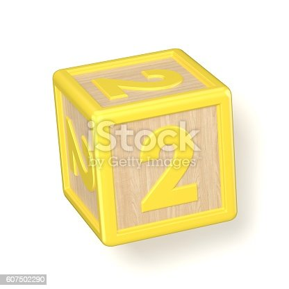 520660497 istock photo Number 2 TWO wooden alphabet blocks font rotated. 3D 607502290