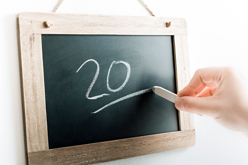 Number 20 Handwritten With Chalk On Blackboard