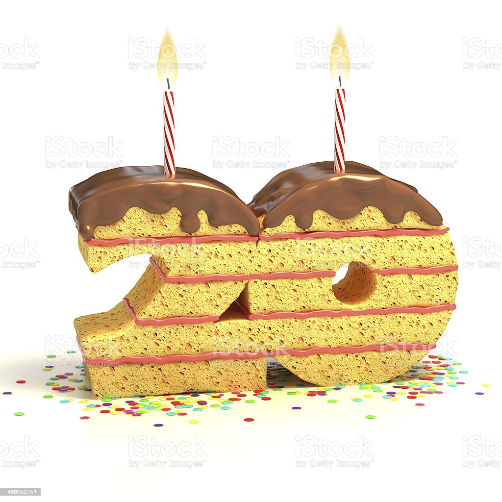 Number 20 Shaped Chocolate Birthday Cake With Lit Candle Stock Photo