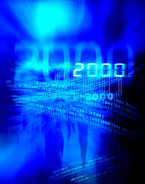 Number 2000, businessmen and binary code. stock photo