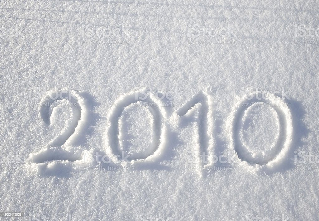Number 2010 on snow stock photo