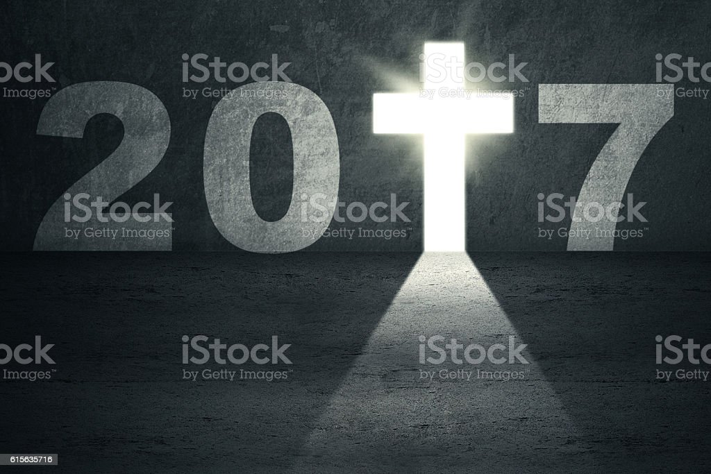 Number 2017 and cross symbol stock photo