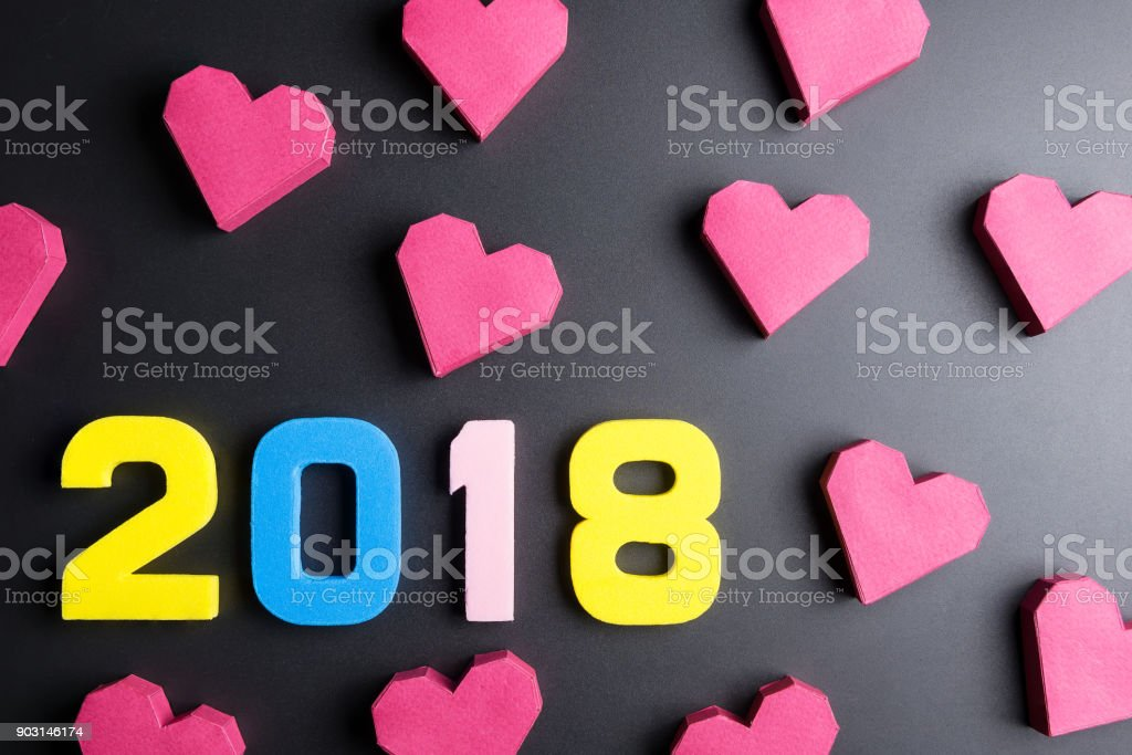 Number 2018 And Paper Box Red Heart Shape On Black Backgroundhappy