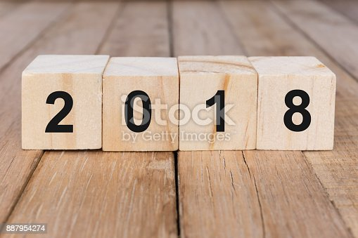 istock Number 2018 on Wooden Block 887954274