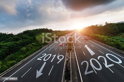istock Number 2019, 2020 on multiple lane highway 1150189654