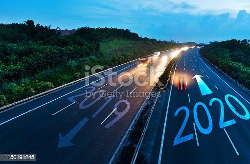 istock Number 2019, 2020 on multiple lane highway 1150191245