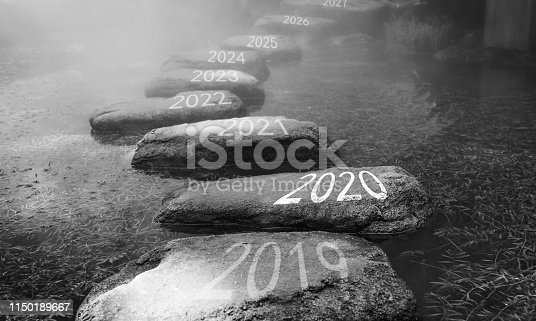 1150191246 istock photo Number 2019, 2020, 2021 on stepping stones 1150189667