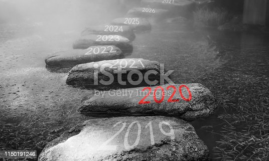 1150191246 istock photo Number 2019, 2020, 2021 on stepping stones 1150191246