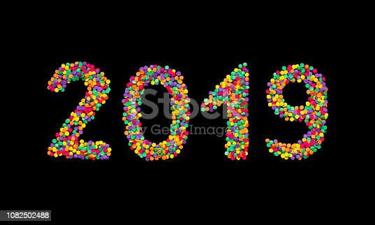 istock Number 2019 of multicolored confetti isolated 1082502488