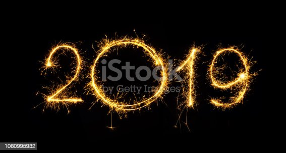 977840698 istock photo Number 2019 written sparkling sparklers 1060995932